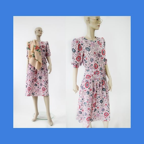 Vintage romantic floral boho dress from 1980s / pi
