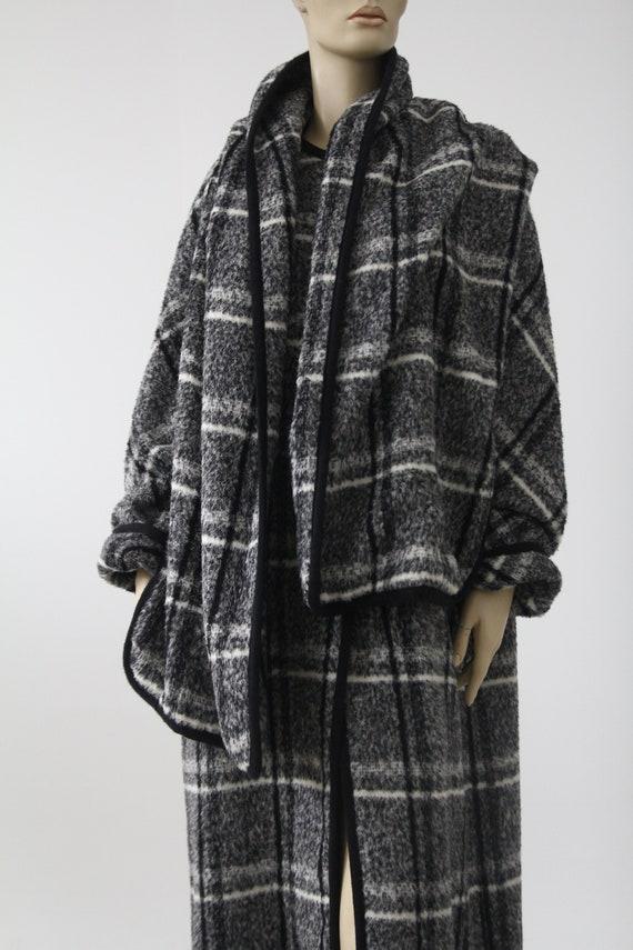 Marimekko black and white vintage plaid coat for … - image 3