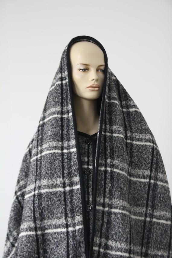 Marimekko black and white vintage plaid coat for … - image 2
