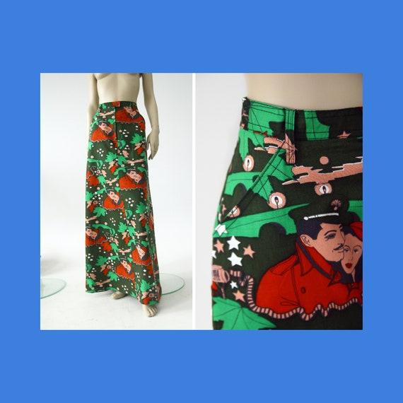 Vintage cotton maxi skirt with Maffia movie themed