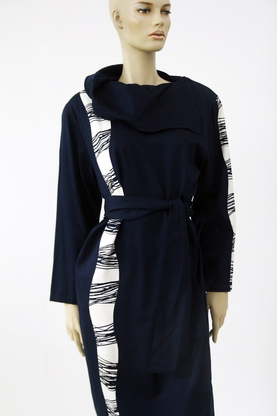 Vintage Marimekko dark blue and white dress / Mar… - image 3