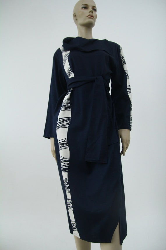 Vintage Marimekko dark blue and white dress / Mar… - image 5