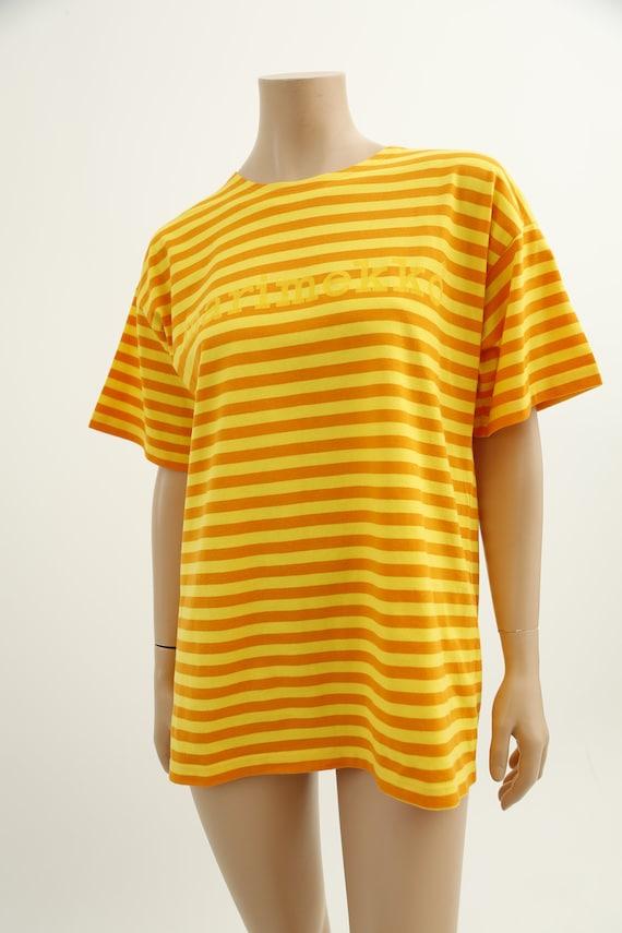 Marimekko vintage yellow striped tasaraita T-shirt - image 5