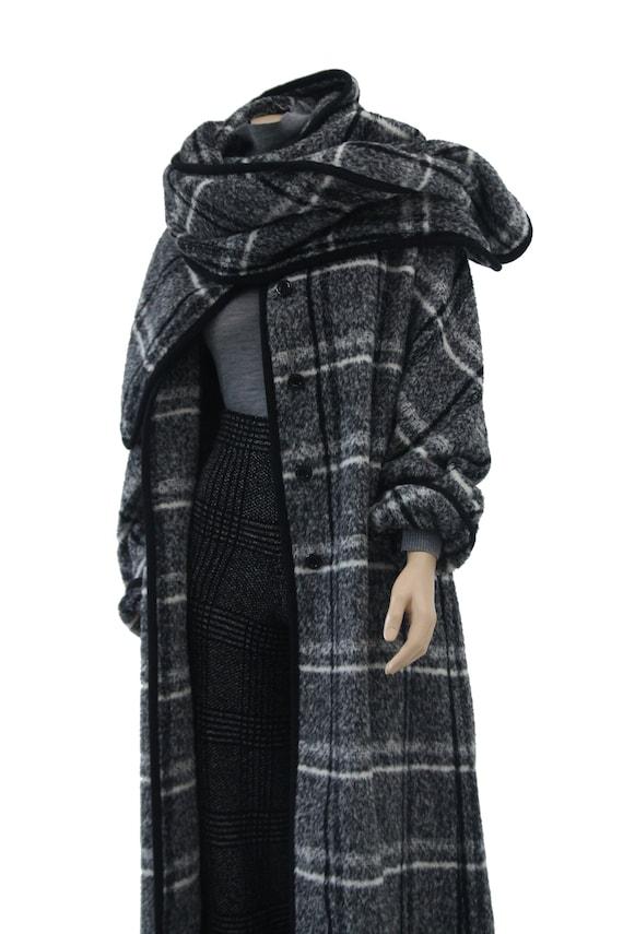 Marimekko black and white vintage plaid coat for … - image 8