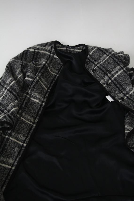 Marimekko black and white vintage plaid coat for … - image 6