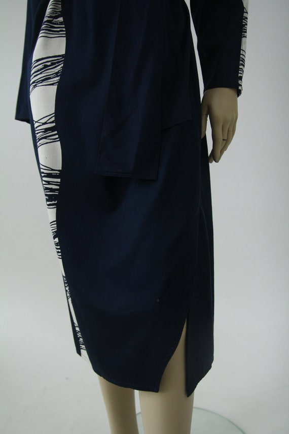 Vintage Marimekko dark blue and white dress / Mar… - image 4
