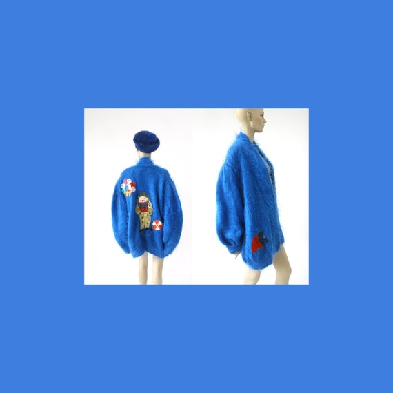Blue vintage chunky mohair sweater / sweater jacke