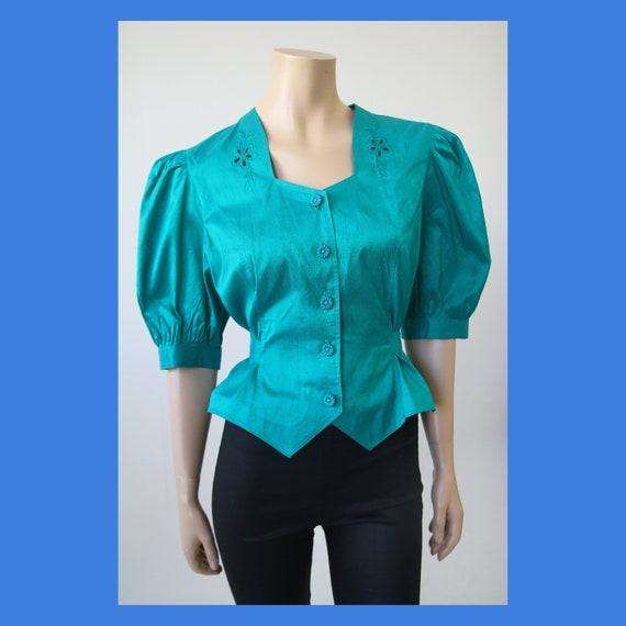 Vintage balloon sleeved green - blue raw silk blou