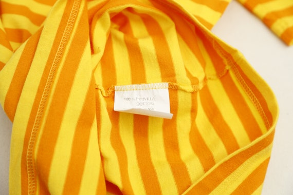 Marimekko vintage yellow striped tasaraita T-shirt - image 4