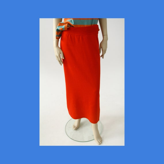 Vintage Marimekko knitted red maxi skirt