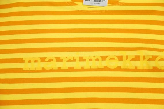 Marimekko vintage yellow striped tasaraita T-shirt - image 3