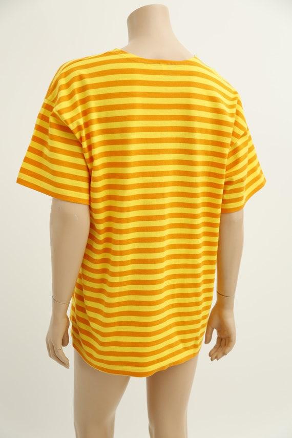 Marimekko vintage yellow striped tasaraita T-shirt - image 8