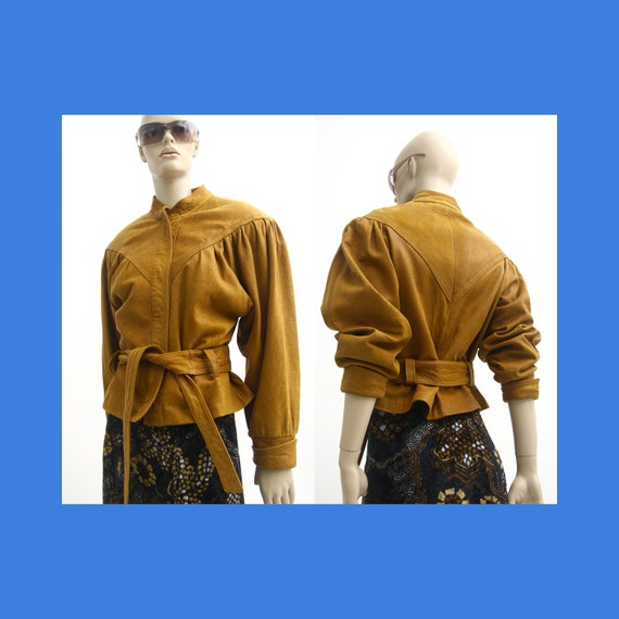 Brown batwing leather jacket for women / 80s boho