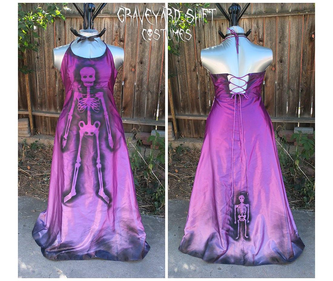 Purple Ombre Zombie Mardi Gras Costume Skeleton Dress Dead Pin   Etsy