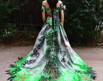 Fresh from the Grave Blood Splattered, Insect Encrusted Couture Zombie Bride
