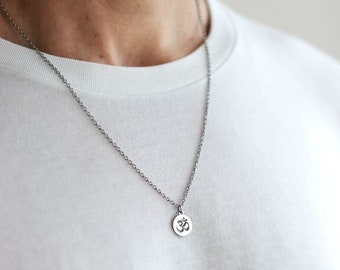 6c3491241f546b Om necklace for men, groomsmen gift, men's necklace with a silver Ohm  pendant, silver chain, gift for him, Yoga necklace, spiritual