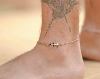 Anchor anklet for men, men's anklet with a silver anchor, brown cord, anklet for men, gift for him, men's ankle bracelet, nautical jewelry