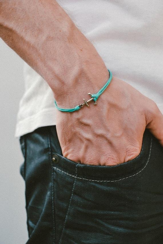 anker schnur armband herren armband silber anker charme etsy. Black Bedroom Furniture Sets. Home Design Ideas