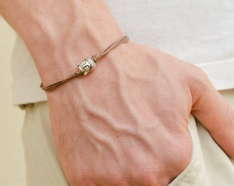Buddha bracelet, men's bracelet with silver buddha charm, spiritual, brown cord, bracelet for men, gift for him, yoga bracelet, spiritual