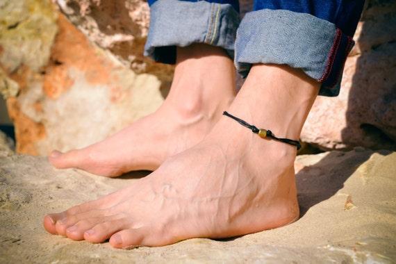 Venta caliente genuino precio oficial mejor selección de Tobilleras para los hombres, pulsera para el tobillo de los hombres con el  encanto de un tubo de bronce y un cordón negro, pulsera para el tobillo ...