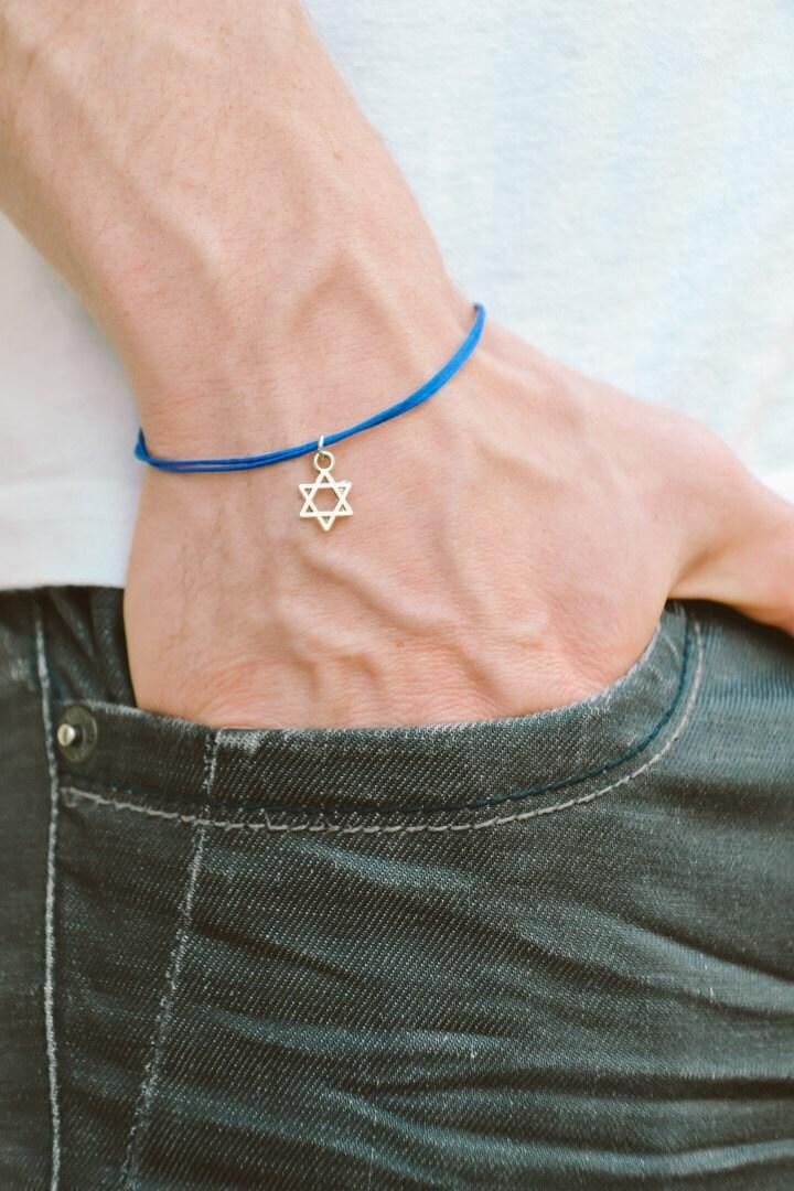 davidstern herren armband silber blau armband f r m nner. Black Bedroom Furniture Sets. Home Design Ideas