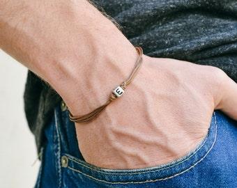 Initial bracelet, customised men's bracelet, silver tone, english letter, brown cord, Personalised monogram bracelet for men, gift for him
