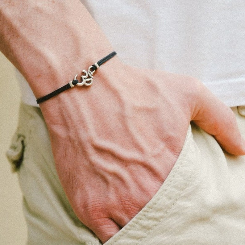 OM bracelet men's bracelet with Tibetan silver Om charm image 0