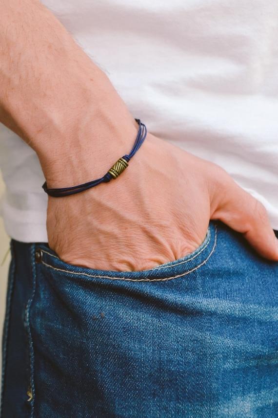 cadeau f te des p res cordon bleu bracelet pour homme etsy. Black Bedroom Furniture Sets. Home Design Ideas
