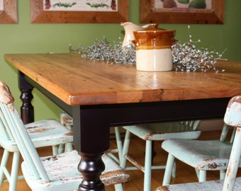 wormy chestnut table etsyantique wormy chestnut farm table with black painted base