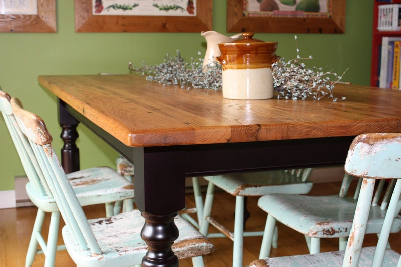 antique wormy chestnut farm table with black painted base etsyimage 0
