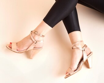 Shoes, Womens Shoes, Pumps, Sandals, Summer Shoes,  Bronze Leather Shoes, Handmade Shoes, Pointed Toe // Free Shipping