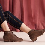 Lace Up Brown Leather Ankle boots, Zoey // Free Shipping
