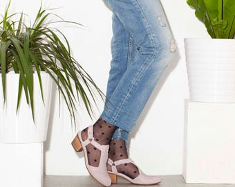 Women's Shoes, Pink Shoes, Summer Shoes, Summer Heels, Sandals, Leather Shoes, Wide Heels, Casual Shoes, Audrey // Free Shipping