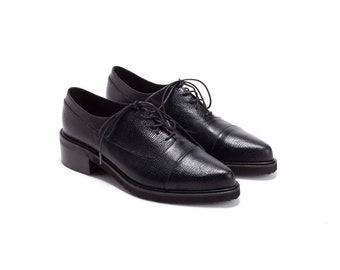 Black Leather Oxfords, Alex // Free Shipping