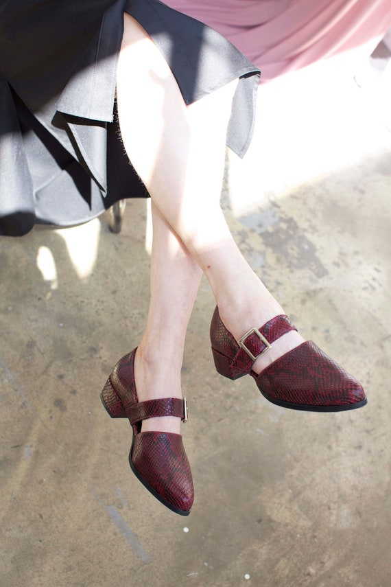 Red Leather Mary Janes Snake Print