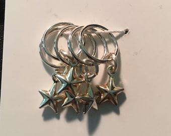 Snag-free knitting stitch markers -- set of five -- silver stars