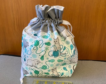 CATS and YARN small-scale teal print -  medium fully-lined cotton drawstring knitting project bag