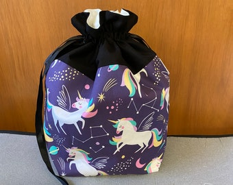 RAINBOW SPACE UNICORN print --  Large fully-lined cotton drawstring knitting project bag