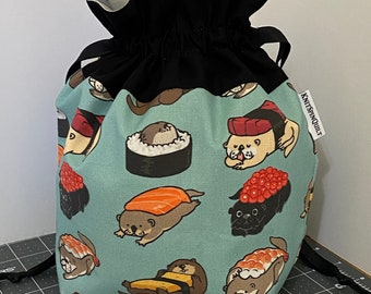 Sushi otters -  medium (sock sized) fully-lined cotton drawstring knitting project bag