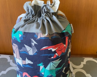 Origami dragon themed --large project bag for knitting, crocheting, spinning, crafting