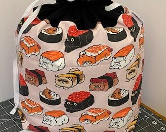Sushi Cats -- XL / Sweater Size Drawstring Knitting/Crocheting Project Bag