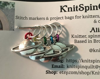 Rainbow silver charm knitting stitch markers -- set of five -- silver charms of planets with rainbow jump rings