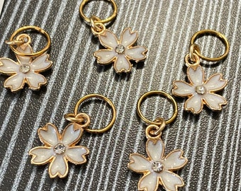 Enameled flower charms -- set of five stitch markers on gold soldered-shut no-snag jump rings