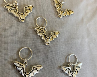 Bat charms -- set of five stitch markers on silver soldered shut no-snag jump rings