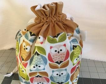 OWL print medium fully-lined cotton drawstring knitting project bag