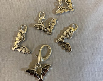 Bat charms -- set of five progress keepers on four small and one large lobster claw