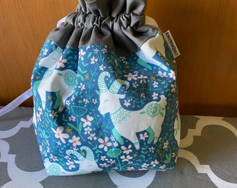 FLORAL GOAT print -  medium fully-lined cotton drawstring knitting project bag