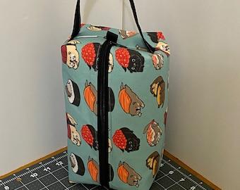Sushi otters -- zippered (shawl sized) box bag for knitting, spinning, toiletries, etc.