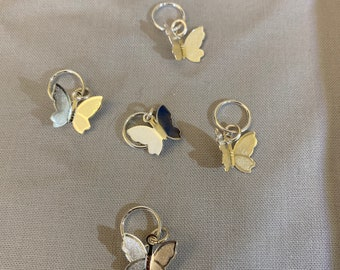 Snag-free knitting stitch markers -- set of five -- silver butterflies