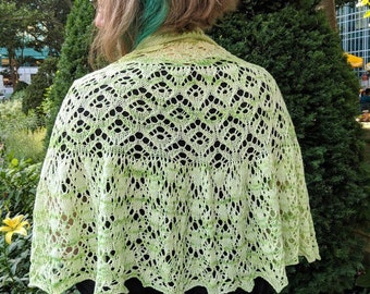 Semiramis shawl PDF pattern download — knitted lace shawl pattern with charts and written instructions